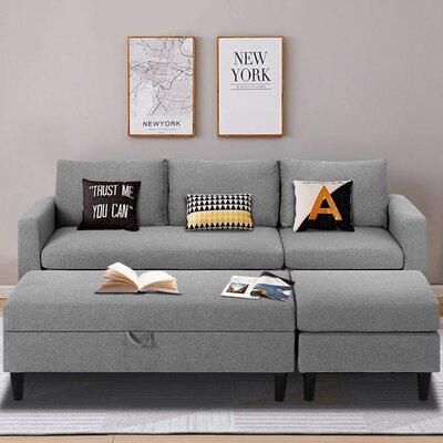 Esright Set of 3 Sectional Fabric Sofa