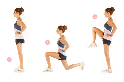 Reverse lunge with knee lifts - 7-Day Indoor Exercises for Explosive Results this Winter: Best Winter Workout Plan
