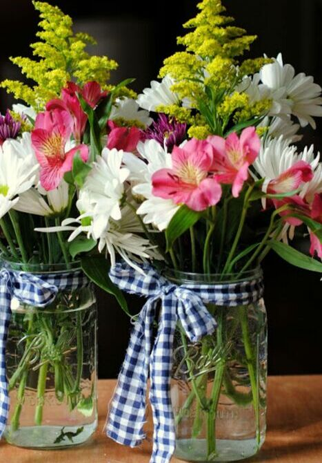 A Crate of Flowers with Mason Jar